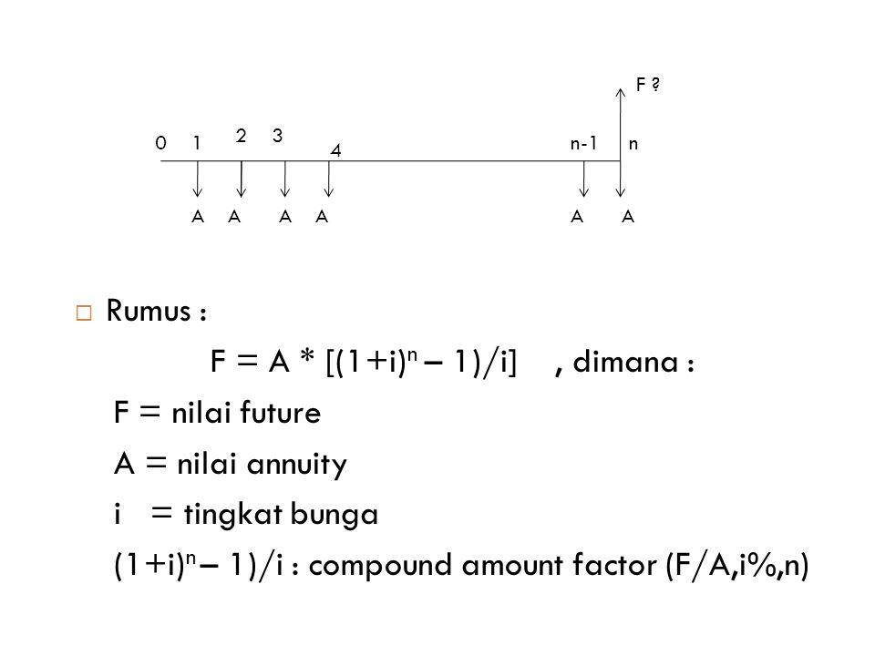 F = A * [(1+i)n – 1)/i] , dimana : F = nilai future A = nilai annuity